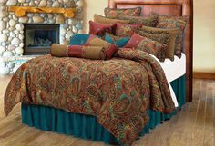 San Angelo Paisley Bedding with Teal Faux Leather Bed Skirt