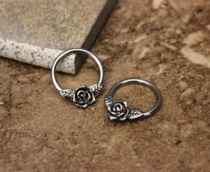 Rose Flower Conch Hoop Earring, Nipple Ring,Daith, helix , 316L Surgical Steel Body Jewelry 14G 16G, Sold as Single Hoop