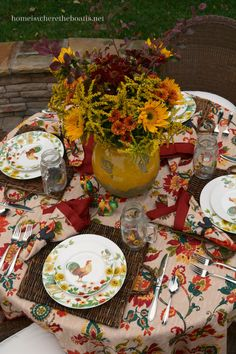 Home is Where the Boat Is: Beautiful Fall table setting using Pfaltzgraff Rooster Meadow Dinnerware