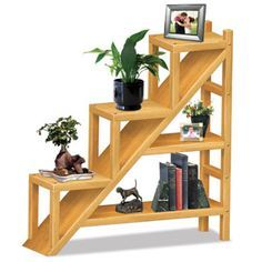 """Staircase Shelving Unit Pattern  This stylish bookshelf will compliment any home. 44""""H x 43""""W x 11""""D. Parts Req'd: Wooden Plugs (1) W-205  Pattern #2428  $14.95    ( crafting, crafts, woodcraft, pattern, woodworking ) Pattern by Sherwood Creations"""