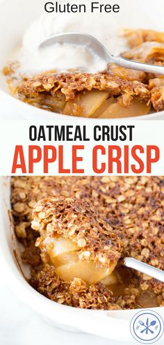 Gluten Free Apple Crisp with Oatmeal Topping This is my go-to apple crisp recipe filled with tender caramelized apples under a buttery crunchy oatmeal topping that is gluten-free! Apple Crisp With Oatmeal, Apple Crisp Topping, Apple Oatmeal, Gluten Free Apple Crisp, Gluten Free Oatmeal, Apple Crisp Recipes, Healthy Foods To Make, Healthy Dessert Recipes, Healthy Weight