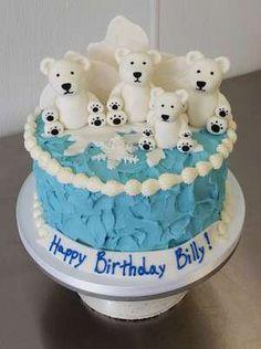 polar bear family north pole ice snowflaces birthday boy cake