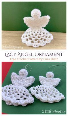 Christmas Angel Ornaments, Crochet Christmas Decorations, Crochet Christmas Ornaments, Christmas Crochet Patterns, Holiday Crochet, Holiday Decorations, Angel Crochet Pattern Free, Crochet Motif, Free Crochet