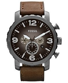Fossil Watch, Men's Chronograph Nate Brown Leather Strap 50mm JR1424 - For Him - Jewelry Watches - Macy's