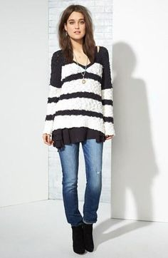 Great striped black & white fall sweater!