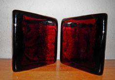 MID CENTURY MODERN Red/Amber Blenko Half Moon Bookends Eames Era PRICE TO SELL