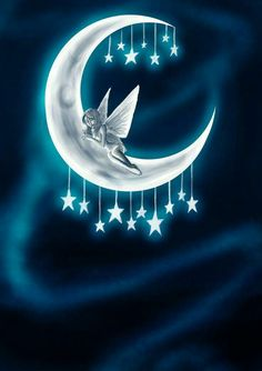 Stars Hanging on the Moon and Fairy sleeping Fairy Pictures, Moon Pictures, Sun Moon Stars, Sun And Stars, Moon Fairy, Moon Magic, Beautiful Moon, Fairy Art, Nocturne