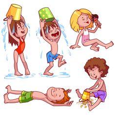 Lovely kids children cartoon graphics vector set 08