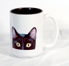 Black Cat Coffee Mug  Peek-A-Boo Mug by ArtByJulene on Etsy