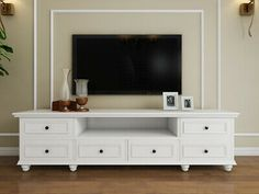 Beata American country Hampton style white TV s White Tv Stands, Cool Tv Stands, Tv Cabinet Design, Tv Unit Design, Tv Stand Decor, Tv Decor, White Tv Cabinet, White Tv Unit, Hamptons Style Decor