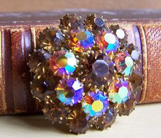 Vintage Brooch. Small Gold-Plated Brooch with Multicolored Crystals. Iridescent…