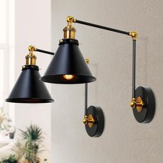 LNC 1-Light Modern Black and Gold Wall Lamp Adjustable Plug-In Industrial Wall Sconce with Swing Arms(2-Pack)-A03469 - The Home Depot Swing Arm Wall Sconce, Wall Sconces, Wall Sconce Bedroom, Plug In Wall Sconce, Bathroom Wall Light Fixtures, Swing Arm Wall Light, Sconces Living Room, Black Wall Sconce, Sconce Lighting