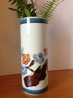 Vintage Japan Hand Painted  Orange and Brown Pottery Vase