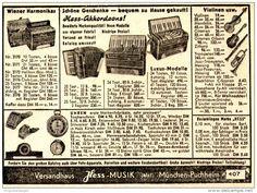 Original-Werbung/ Anzeige 1950 - AKKORDEONS / RASIERKLINGEN / UHREN - MUSIK HESS / MÜNCHEN - PUCHHEIM - ca 110 x 75 mm