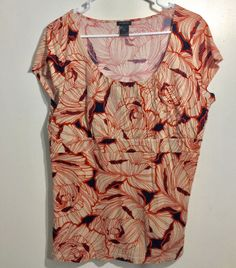 Ann Taylor Blouse XL Floral Pattern Empire Waist Cap Sleeves Orange Top Women's #AnnTaylor #Blouse