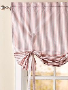 Insulated Ticking Stripe Tie Up Balloon Valance - Home Decor Balloon Curtains, Balloon Valance, Ticking Stripe Curtains, Curtains, Diy Curtains, Balloon Shades, Ticking Stripe, Tie Up Curtains, Kitchen Curtains