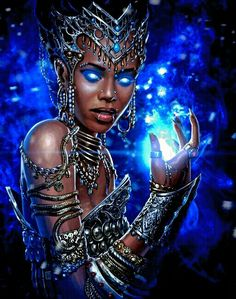 Warlock 2 concept art by Sergey Kondratovich on ArtStation. Black Love Art, Black Girl Art, My Black Is Beautiful, Black Girl Magic, Art Girl, African American Art, African Art, African Goddess, Black Art Pictures