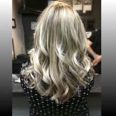 Soft platinum blonde Balayage with shadow root for easy maintence