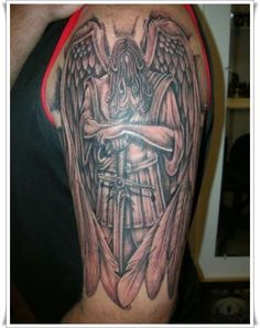 30 Perfect St Michael Tattoo Design Ideas Hi Here we have good photo about angel michael tattoo designs. We hope these photos can be your bu. Tattoo Rate, Diy Tattoo, Tattoo Ideas, St Micheal Tattoo, St. Michael, Saint Michael, Body Art Tattoos, Sleeve Tattoos, Tatoos