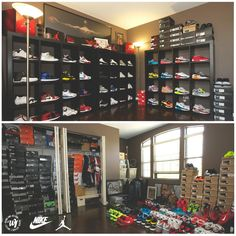 The very beginning stages of building my Nike Sneaker Collection Room. From Air Jordans to Nike Air Maxes, Ive started to organize the 400 pairs. Shoe Room, Shoe Closet, Shoe Wall, Nike Outfits, Fitness Outfits, Sport Outfits, Jordan Outfits, Workout Outfits, Sneaker Storage