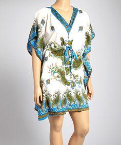 Love this Blue Paisley Drawstring V-Neck Dress - Plus on #zulily! #zulilyfinds