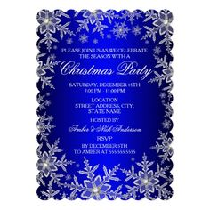Christmas Holiday Party Invitation. Elegant sparkle crystal snowflakes. Please Note: All flat images!