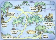 Map of the 100 Acre Woods from Disney's 'Winnie the Pooh' Winnie The Pooh Themes, Winnie The Pooh Friends, Eeyore, Tigger, 100 Acre Wood, Hundred Acre Woods, Map Projects, Tea Party Baby Shower, Fantasy Map