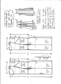 Esquema se  modelagem de vestido tubinho cava reta tamanho 36.