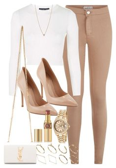 """Style #9302"" by vany-alvarado ❤ liked on Polyvore featuring Topshop, Gianvito Rossi, Yves Saint Laurent, ASOS, Elsa Peretti and Rolex"