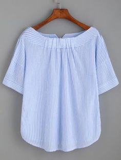 Shop Striped Boat Neck Blouse With Buttons online. SheIn offers Striped Boat Neck Blouse With Buttons & more to fit your fashionable needs. Sewing Clothes, Diy Clothes, Clothes For Women, Shirt Refashion, Tee Dress, Woman Outfits, Blue Stripes, Stripe Top, Blouse Designs