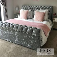 THE CALIFORNIA SUNSHINE BED in Silver Crushed Velvet - #hoshomes #interiordesign #homedecor #home #design #interior #decor #interiors #bed #decoration #bedroomdecor #designer #furniture #homedesign #bedroomdesign #house #interiordecor #luxurylifestyle #sleep