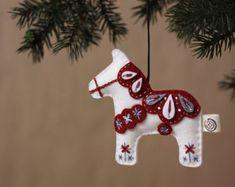 Nikkie's Felt Dala Horse Christmas by NikkiesNeedlework on Etsy