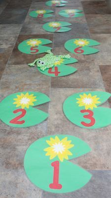 Lily Pad Hopscotch. We love this idea for a Princess and the Frog themed birthday party.