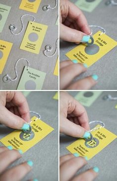Great idea, scratch cards with washers attached
