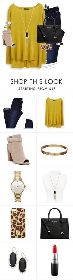 """""""so chic"""" by smbprep ❤ liked on Polyvore featuring MANGO, Steve Madden, Cartier, Kate Spade, Kendra Scott, Tory Burch, MICHAEL Michael Kors and MAC Cosmetics"""