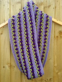 Tulip crochet cowl, crochet infinity scarf, flowers in a row, lacy crochet, lilac, purple, green, wool free, striped, lavender, ultra violet
