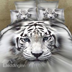 New Arrival 100% Cotton Lifelike White Tiger 3D Printed 4-Piece Bedding Sets/Duvet Cover Sets