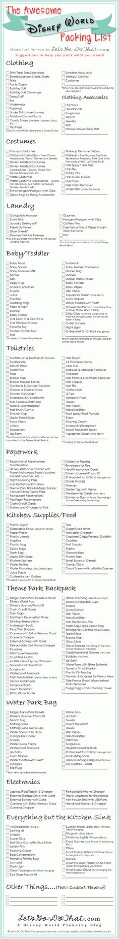 Step 8 Make Your Packing List Plan what you and your family will wear each day and for little kids. Bring an extra set of clothing. You will need to need to pack all your toiletries, comfy shoes, clothes and don't forget your child's princess costume! This packing list is just a list of suggestions. …