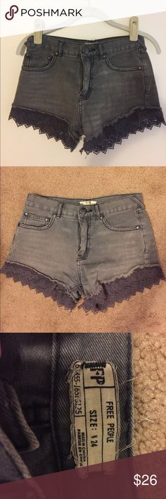 Free People shorts Gray, lace detail, high waisted, lightly worn Free People Shorts