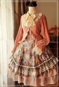 Flower Painting Prints Lolita Jumper Skirt $130.99-Cotton Lolita Dresses - My Lolita Dress