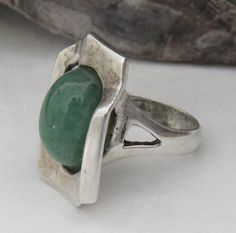Brutalist Mateo sterling silver ring, jade ring, size 7 1/2, vintage, signed, marked 950 Taxco Mexico, Mexican, 11.9 grams by MontanaPrairie on Etsy https://www.etsy.com/listing/576882669/brutalist-mateo-sterling-silver-ring