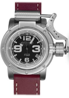 Retrowerk Piston Swiss Automatic Watch  Steel Riveted Porthole Case with Piston Crown Mechanism