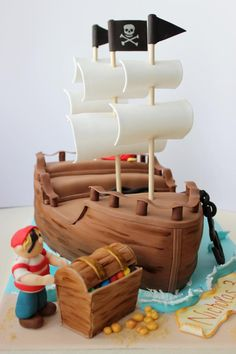 Pirate Ship Cake - Cake by Kiara's Cakes