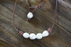A personal favorite from my Etsy shop https://www.etsy.com/listing/234223052/pearls-and-leather-necklace-white-nugget