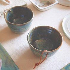 Ceramic Bowls Leather straps Pottery Vessel  atelier shop PAUL AVRIL