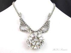 """Vintage Designer Quality Clear Rhinestone Silver Tone Necklace 15"""" Keystone Pear"""
