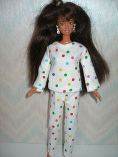 Handmade Barbie doll pajamas white with dots by TheDesigningRose