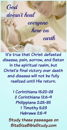 Jesus Heal Everyone Physically? This Bite Size Bible Study presents Bible verses that show He does not heal everyone physically here on earth. Bible Verses Quotes, Bible Scriptures, Healing Scriptures, Jesus Bible, Jesus Heals, Bible Love, Christian Quotes, Christian Faith, Christian Living