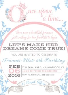 ALL DESIGNS ARE SENT WITHIN 48 HOURS!! Celebrate your special little princess with these Once Upon A Time, Fairytale Birthday Party Invitations!