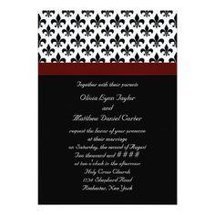 Black Red Fleur De Lis Wedding 5x7 Paper Invitation Card